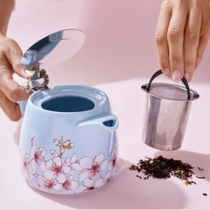 ALFRED Floral Ceramic and Stainless Steel Teapot